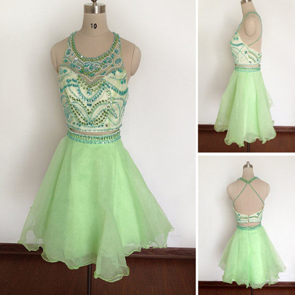 Two Pieces Homecoming Dresses, Green Homecoming Dress