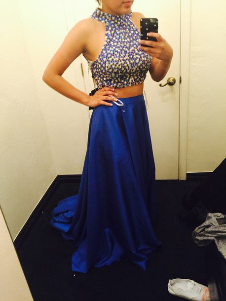Two Piece Prom Dresses,Royal Blue Crystals Prom Dress,Evening Dresses