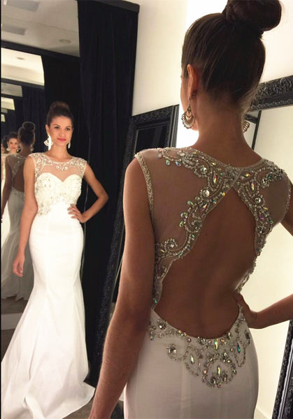 White Mermaid Prom Dress,Sleeveless Prom Dresses,Evening Dresses