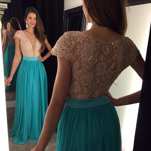 Short Sleeve Prom Dress,V-Neck Prom Dresses,Evening Dresses