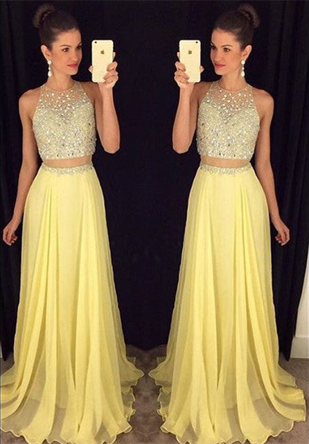 Zipper Up Prom Dress,Beaded Sleeveless Prom Dresses,Yellow Evening Dresses