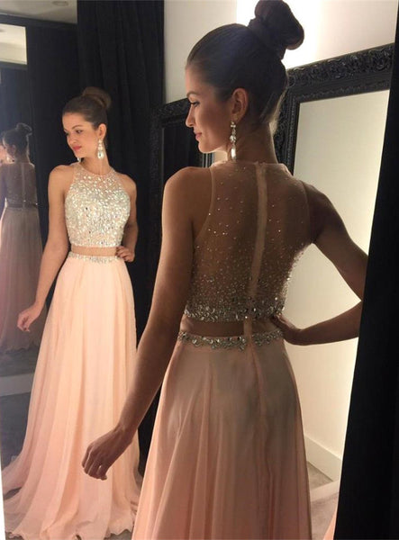 Zipper Up Prom Dress,Beaded Sleeveless Prom Dresses,Evening Dresses