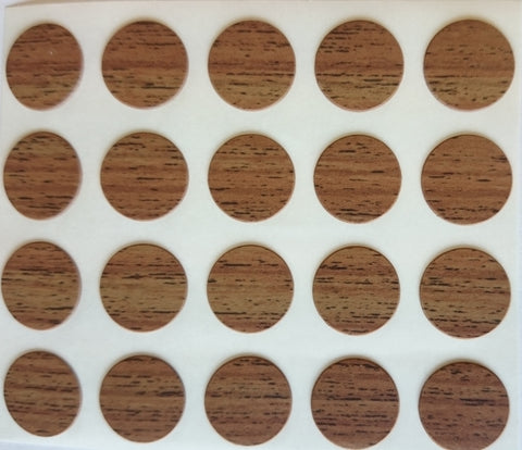 Self Adhesive Stick on Furniture Screw Hole Covers, 13mm,  WALNUT