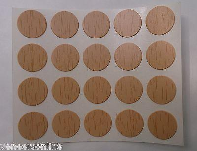 Self Adhesive ABS Stick on Furniture Screw Hole Covers, 25mm,  BEECH