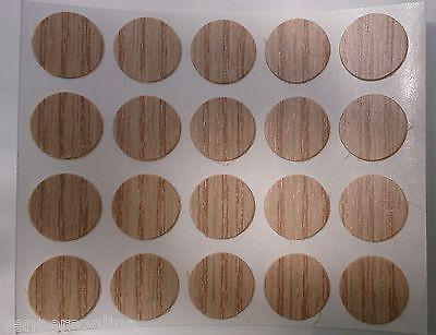 Self Adhesive Plastic Stick on Furniture Screw Hole Covers, 13mm,  AMERICAN OAK