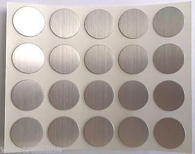Self Adhesive Stick on Furniture Screw Hole Covers,13mm,BRUSHED ALUMINIUM EFFECT
