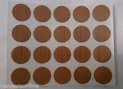 Self Adhesive Stick on Furniture Screw Hole Covers, 13mm,  TEAK / MEDIUM OAK