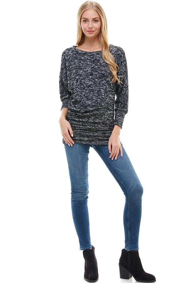 Two Tone Cozy Knit Dolman Sleeves Assymetrical Top