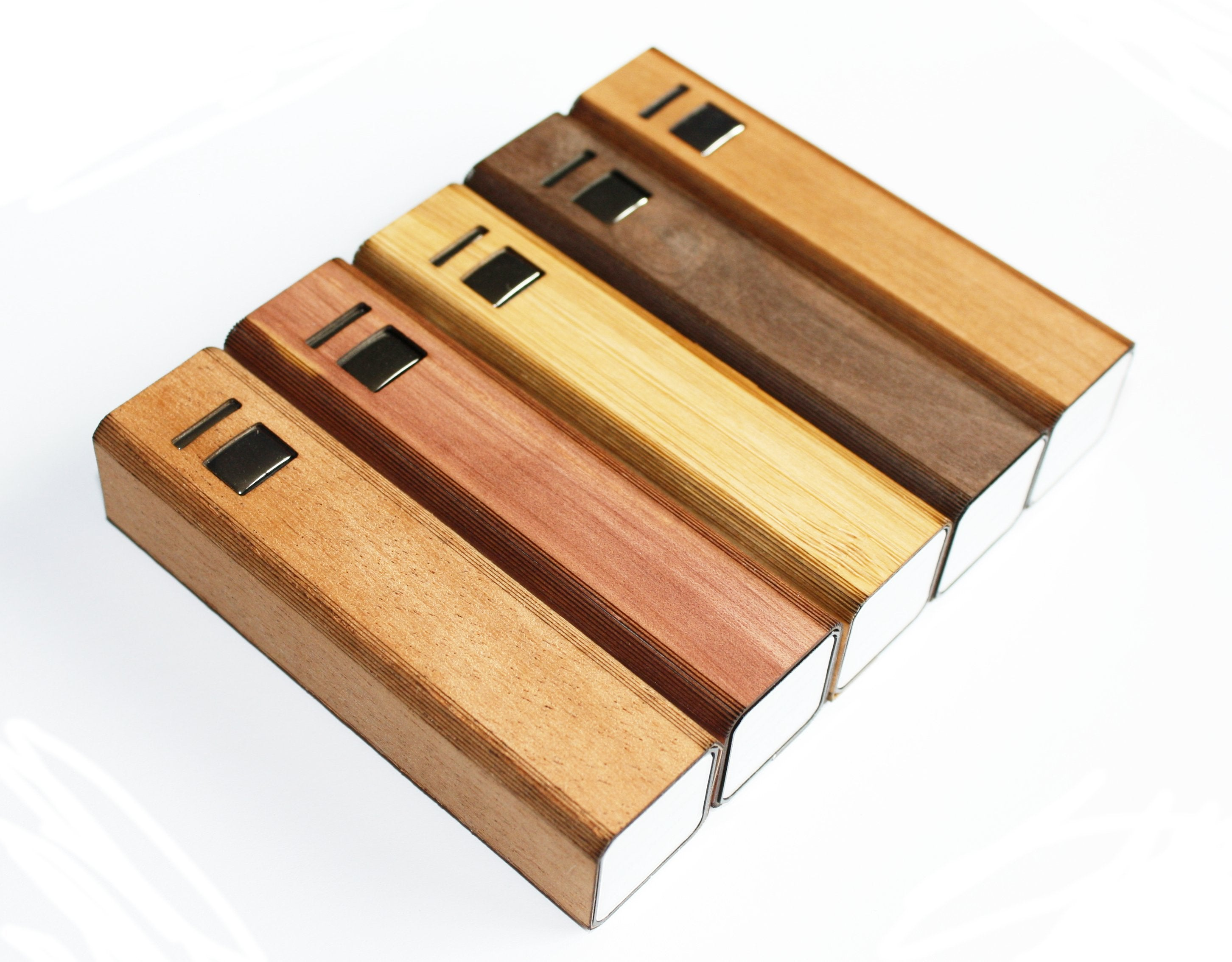 Wooden Ultra-Slim Portable Lipstick Power Bank