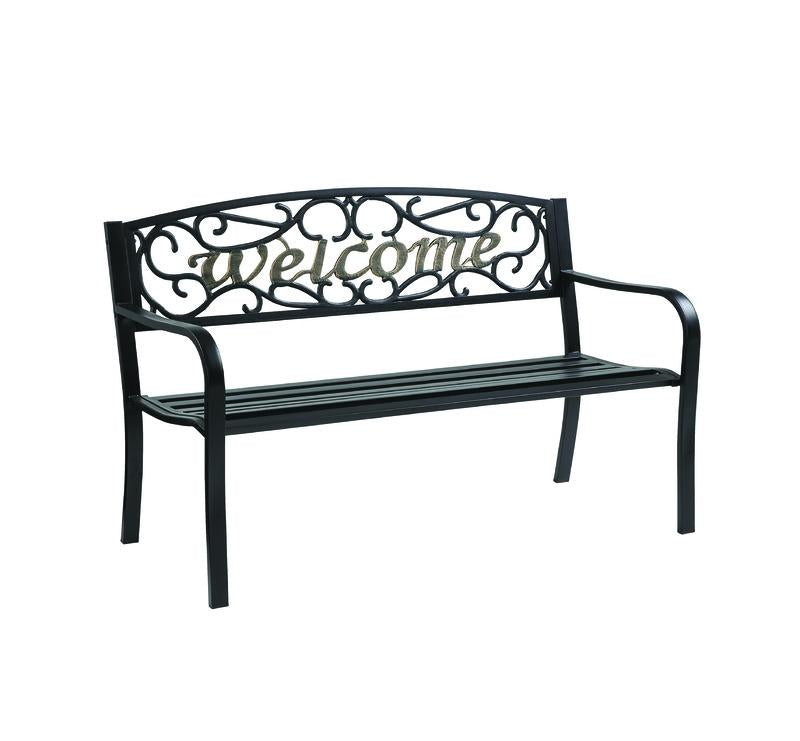 Living Accents  Welcome  Park Bench  Steel  33.5 in. H x 23.5 in. L x
