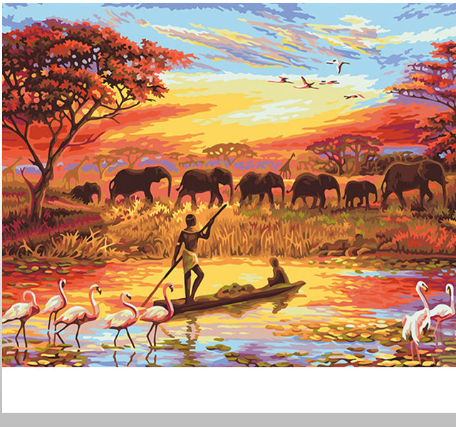 Elephant at Sunset - Diy Painting By Numbers - Unique Gift For Home - Ezy Buy Outlet
