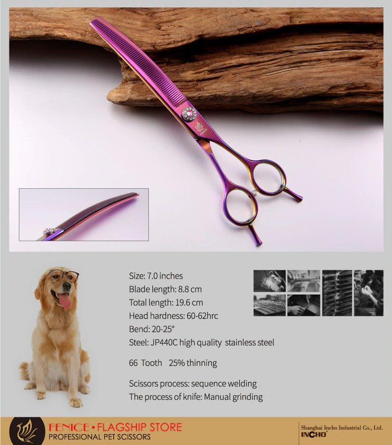 Fenice high-end 7.0 inch professional dog grooming scissors curved thinning shears for dogs & cats animal hair tijeras tesoura
