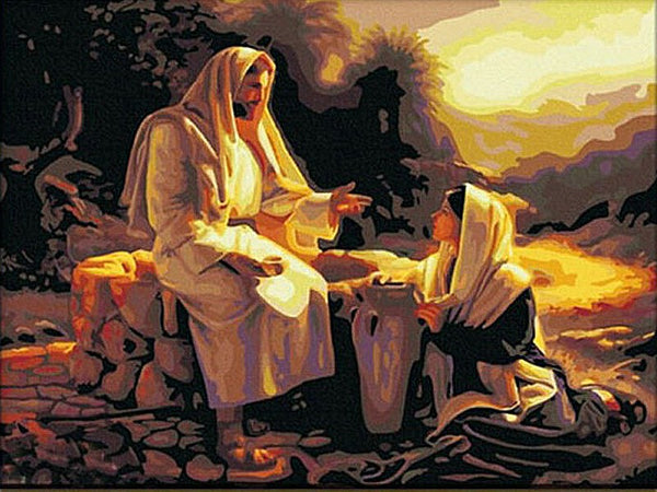 "JESUS with Samaritan Woman - ""Living Water"" -  DIY Painting By Numbers - Ezy Buy Outlet"