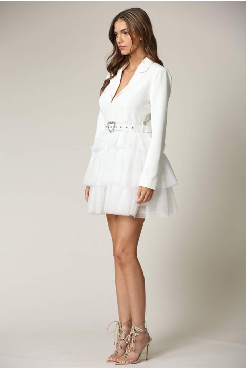 Maddy- Tulle Mesh Blazer Dress