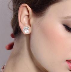 Silver Cubic Zircon Bridal Earrings