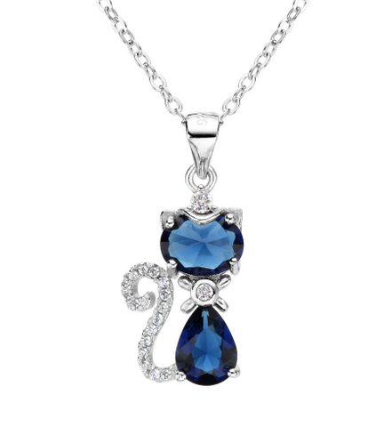 Silver Cat Animal Bridal Necklace - Ezy Buy Outlet