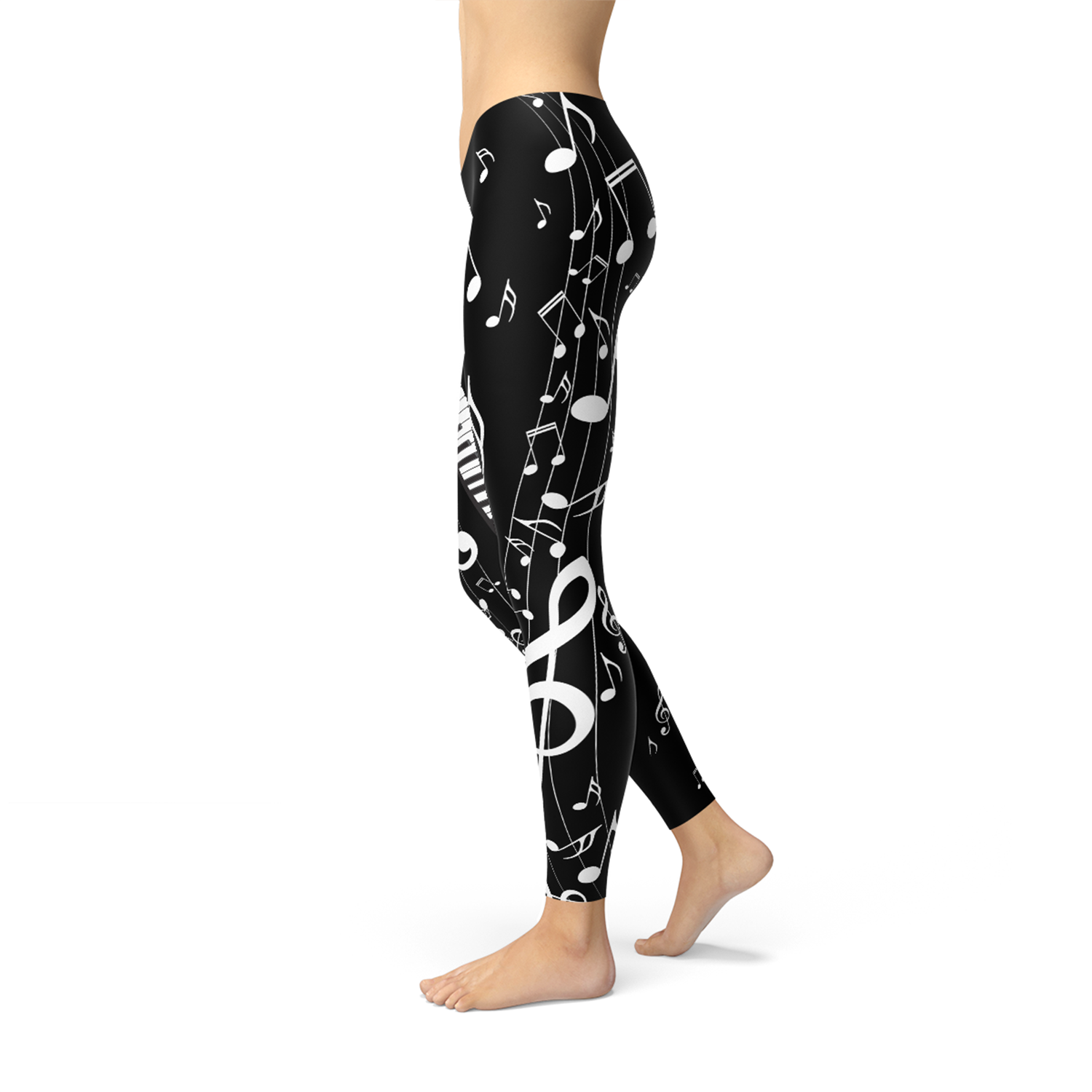 Womens Piano Notes Black Leggings