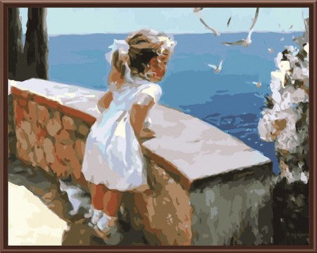 DIY Painting KIT - Little Girl Overlooking Ocean Wall Art Painting For Living Room - DIY KIT (Frameless)