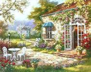 Garden House DIY Acrylic Painting On Canvas - Garden House DIY KIT Acrylic Painting (Unframed)