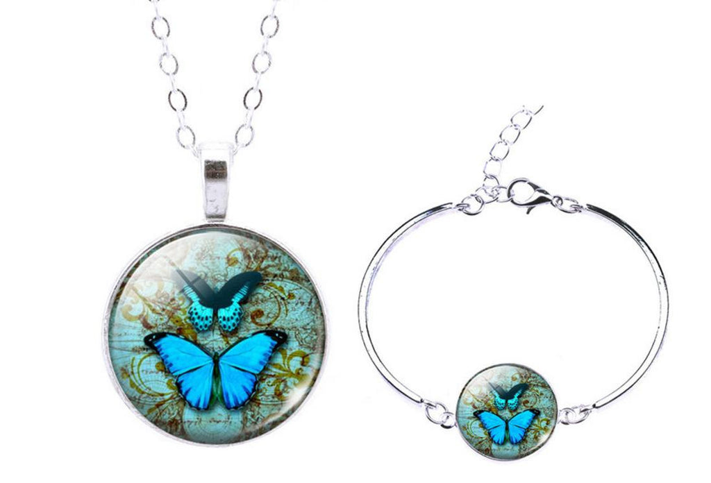Vintage Romantic Butterfly Jewelry Set - Bracelet and Long Pendant Necklace - Ezy Buy Outlet