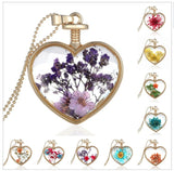 Jewelry - Dry Flower Heart Crystal Glass Pendant Necklace - CHOICE OF 10 ORNATE DESIGNS