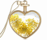 Dry Flower Heart Crystal Glass Pendant Necklace - 10 ORNATE DESIGNS - Ezy Buy Outlet