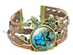 Elegance Personified!! Beautiful Butterfly Bronze Leather Bracelet