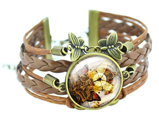 Elegance Personified!! Beautiful Butterfly Bronze Leather Bracelet - Ezy Buy Outlet