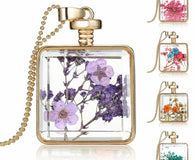 Jewelry - ELEGANT Dried Flower Glass Square Pendant Necklace - Choice Of 5 Exotic Flowers