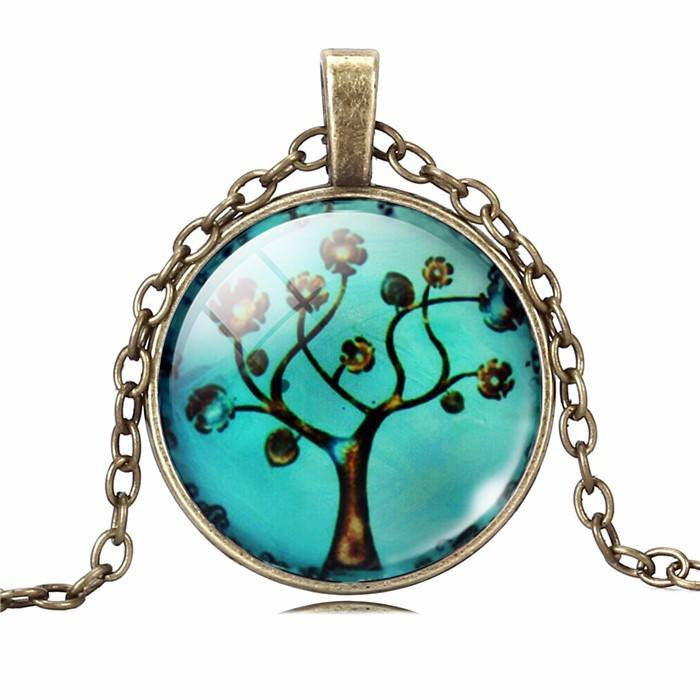 TREE OF LIFE  Pendant Necklace - Glass Cabochon Bronze Chain - Ezy Buy Outlet