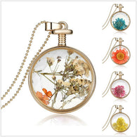 Jewelry - Fashion Jewelry-Dry Flowers Transparent Glass Pendant Chain - 11 Amazing Designs