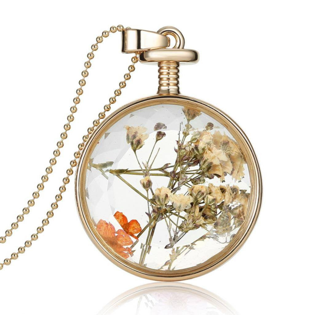 Fashion Jewelry-Dry Flowers Transparent Glass Pendant Chain - Ezy Buy Outlet