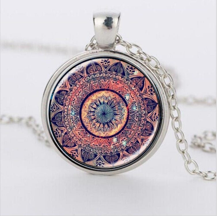 Mandala Splendor Kaleidoscope Crystal Cabochon  Pendant Necklace for women - Ezy Buy Outlet