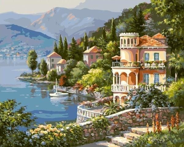 Beautiful Waterfront Bungalow ART Painting On Canvas - DIY KIT (Frameless) - Ezy Buy Outlet