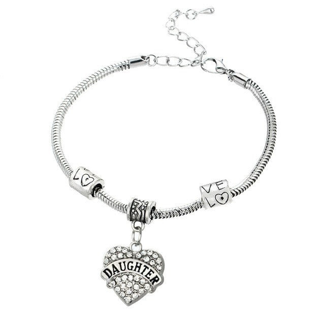 Love Heart Family Bracelet Jewelry- 16 Relationships to Choose From - Ezy Buy Outlet