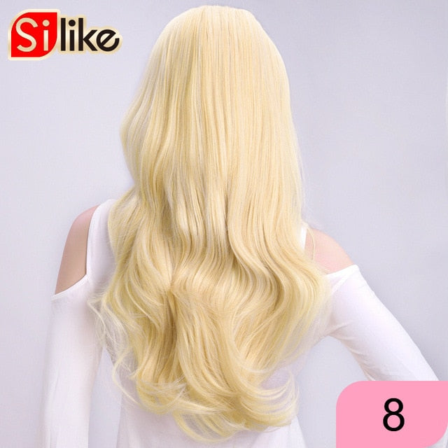 Silike 24 Inch Wavy 3/4 Half Wig Long Synthetic Hair Extensions Ombre Blonde Capless Wigs Hair Clips Extension For Women 210g