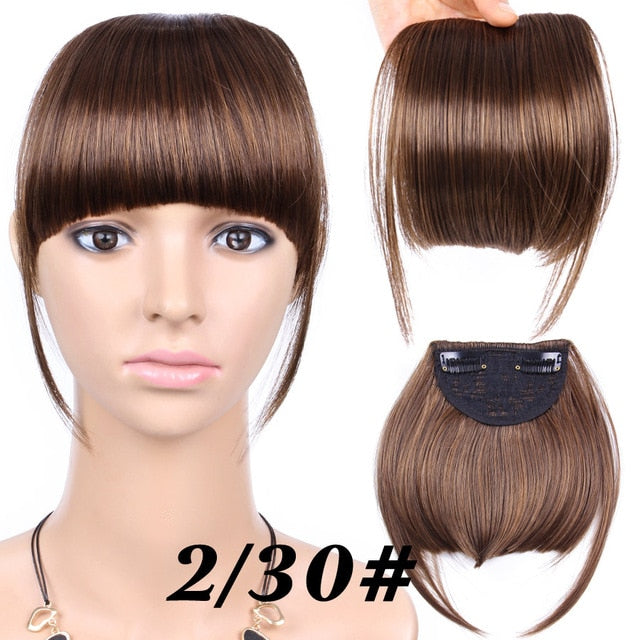 Leeons Short Synthetic Bangs Heat Resistant Hairpieces Hair Women Natural Short Fake Hair Bangs Hair Clips For Extensions Black
