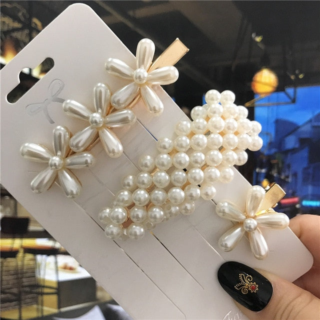 1Set Handmade Pearls Hair Clips Pin for Women Fashion Geometric Flower Barrettes Headwear Girls Sweet Hairpins Hair Accessorie