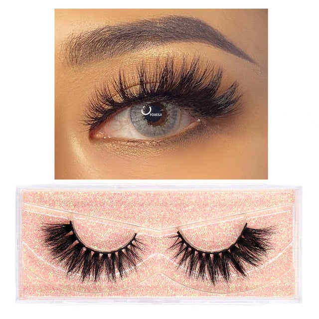 FOXESJI Makeup Eyelashes 3D Mink Lashes Fluffy Soft Wispy Volume Natural long Cross False Eyelashes Eye Lashes Reusable Eyelash