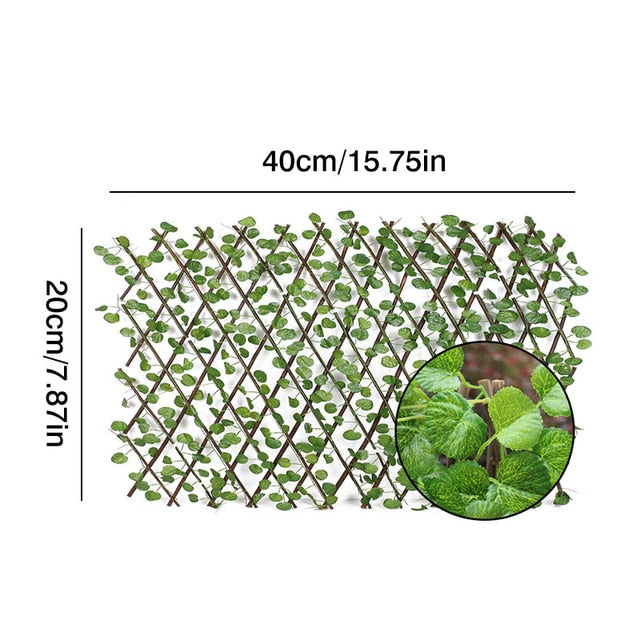 Retractable Artificial Garden Trellis Fence Expandable Faux Ivy Privacy Fence Wood Vines Climbing Frame Gardening Plant Decor