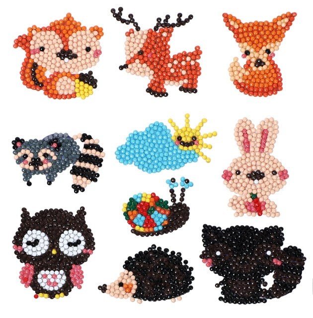 D DIY Diamond Painting Kits for Kids, Cartoon animal Stick Paint with Diamonds by Numbers Kit Easy to DIY, Mosaic Stickers Craft