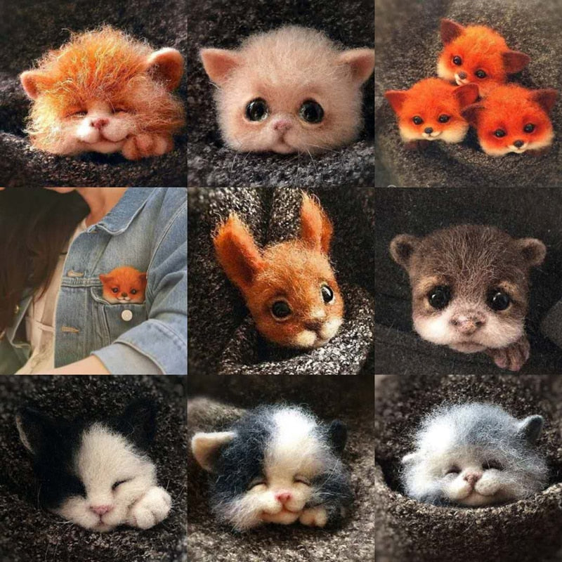 Non finished Relaxed DIY KIT Handmade Pocket Animal Pet Doll Toy Wool Needle felting Kit Dog Cat Fox Head Decor Dog Fox Rabbit