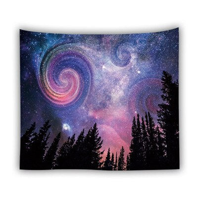 Bluish-Purple Nebula Psychedelic Bohemia Nature Tapestry Wall Hanging Blanket Polyester Galaxy Dorm Decor Wall Cloth Tapestries