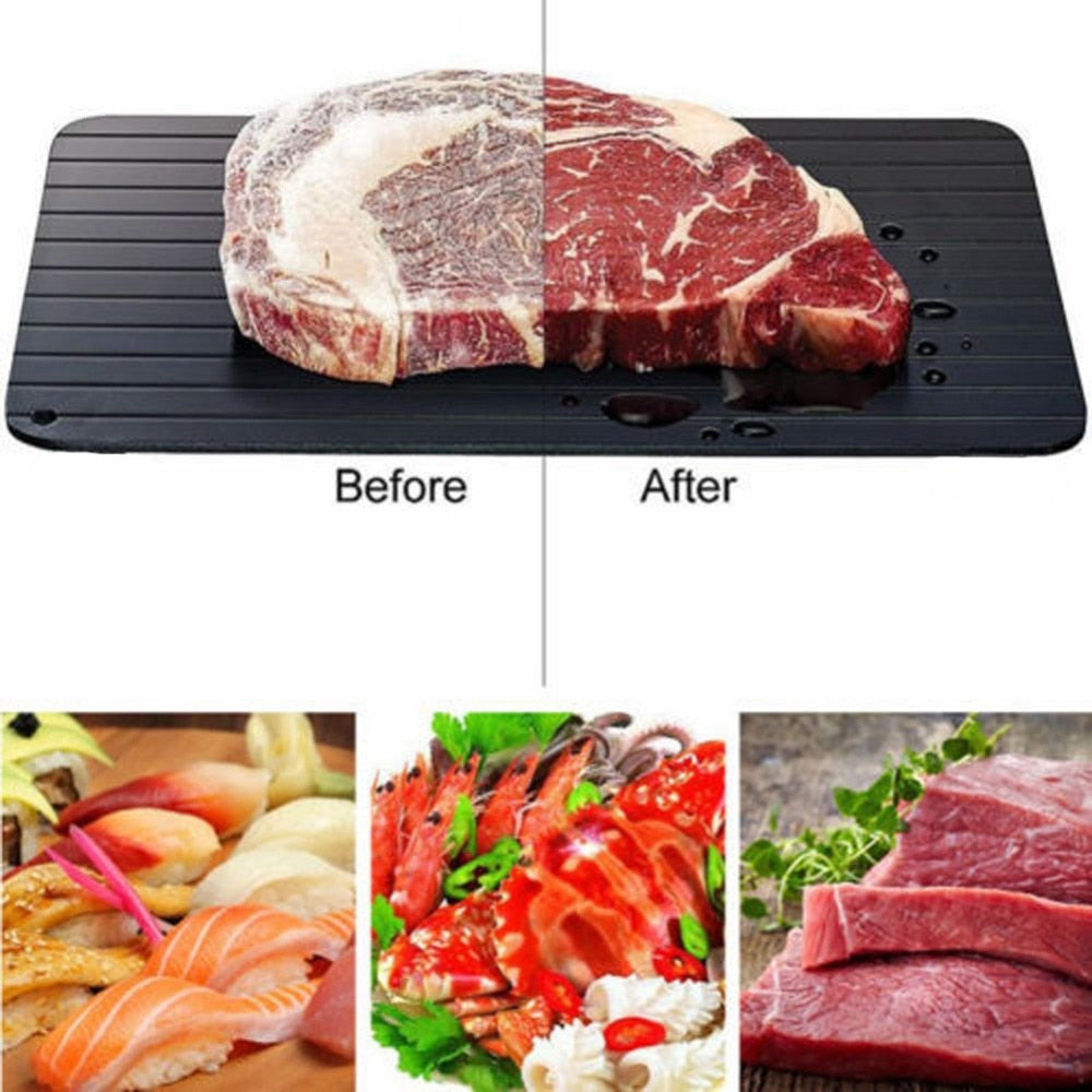 Fast Defrosting Tray for Frozen Foods, Rapid Thawing Plate Large Board for Frozen Meat, Kitchen Defrosting Mat Pad FDA Approved, Made of Aviation Aluminum, Quickly Thawing and Keeping Food Fresh