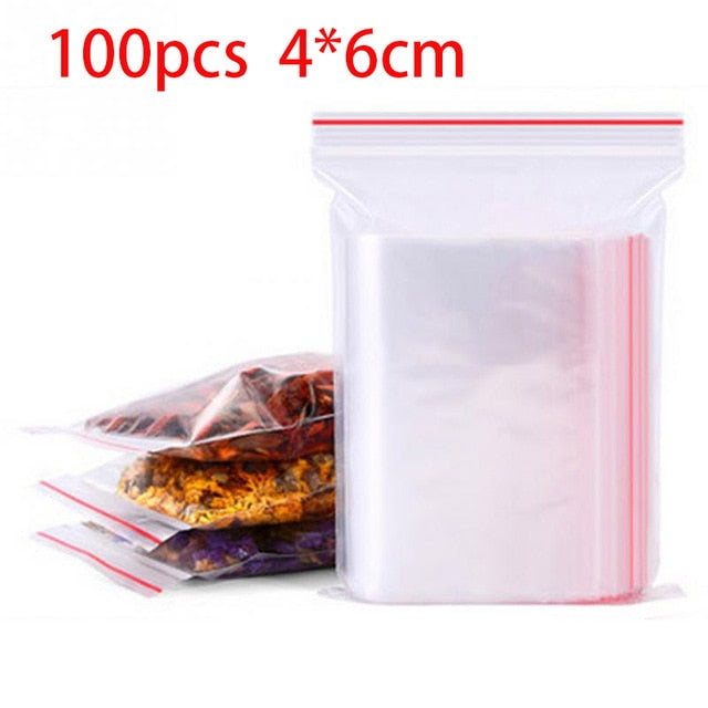 100pcs/pack Resealable Zip Lock Bags Self Seal Clear Plastic Poly  Bag Food Storage Package Reclosable Vacuum Fresh Bag