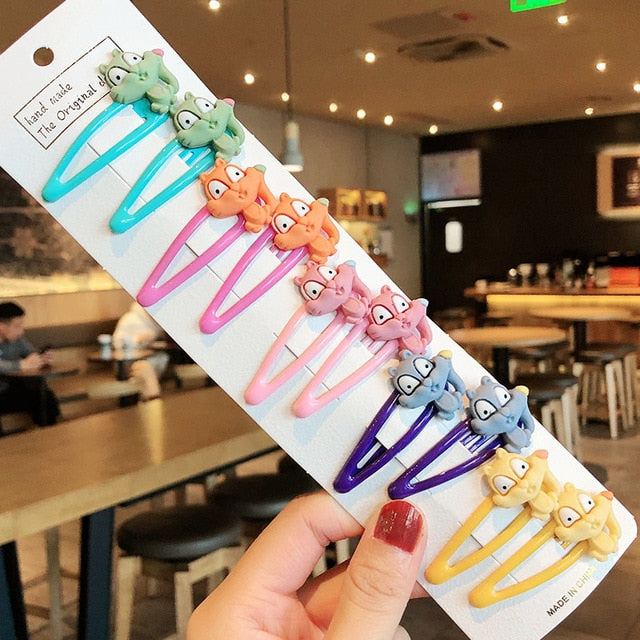 1Set Girls Cute Cartoon Animal Fruit Colorfur Hairpins Children Sweet Hair Clip Barrettes Headband Kids Fashion Hair Accessories