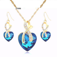 Jewelry Set Crystal Gold color Heart Necklace & Earrings