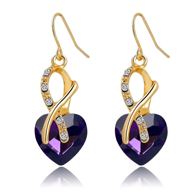 Luxury Cubic Zirconia Fashion Jewelry - Gold Color Crystal Heart Earrings - Ezy Buy Outlet