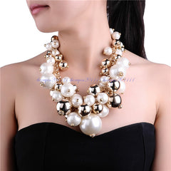 Gold Chain White Pearl Necklace