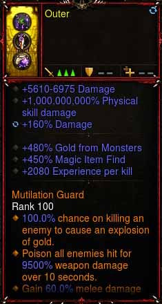 [Primal Ancient] 1-70 1000000000% Modded Ring 480% Gold, 450% Magic Find, 2080 EXP Outer